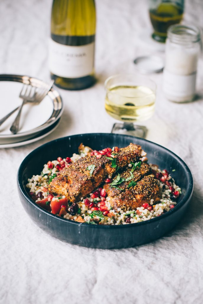 Salmon with Mole Inspired Rub & Israeli Couscous with Fresh Herbs