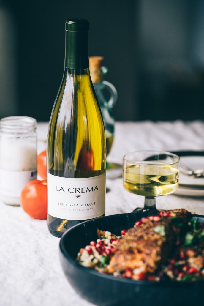 La Crema Sonoma Coast Chardonnay is a beautiful pairing for our Salmon with Mole Inspired Rub & Fresh Herb Israeli Couscous
