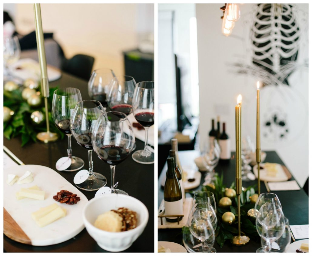 Centerpiece and table setting for a blind wine tasting