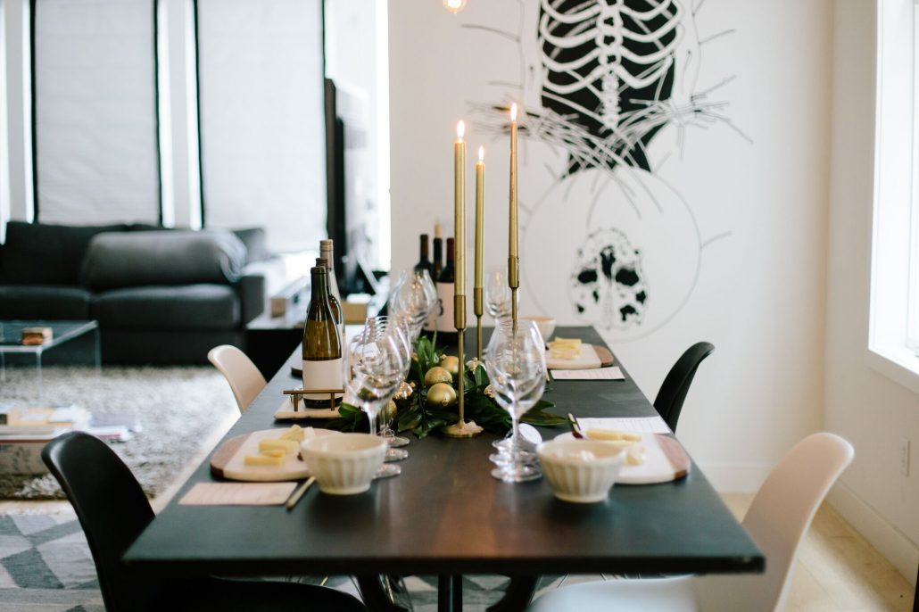 Table setting for a holiday blind wine tasting