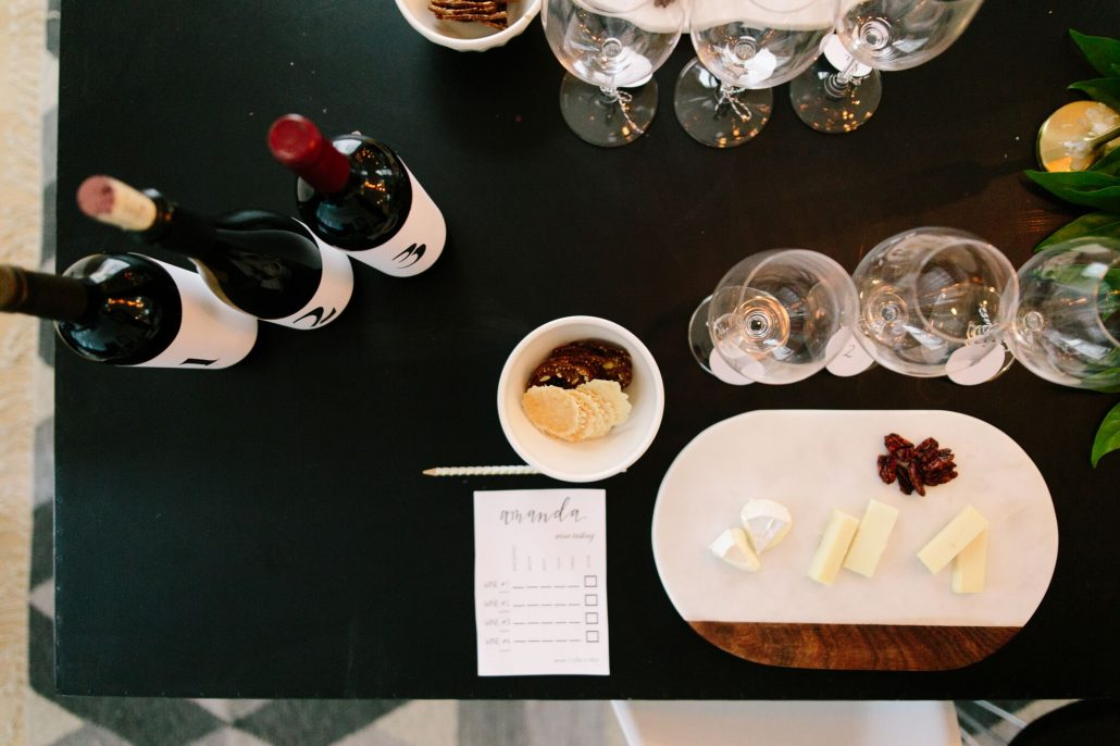 Always have nibbles present to cleanse the palate and give guests something to snack on while enjoying a blind wine tasting
