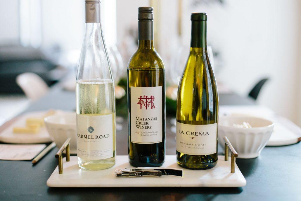 Carmel Road Monterey Riesling, Matanzas Creek Winery Sauvignon Blanc and La Crema Sonoma Coast Chardonnay