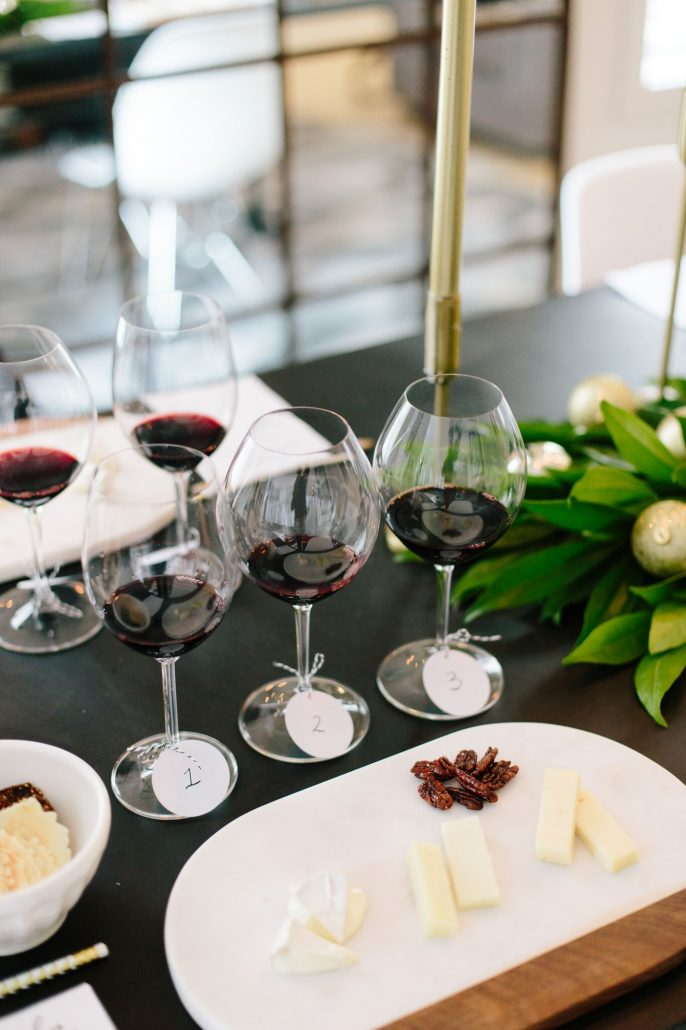 Cheese and accoutrements alongside the wines for a blind wine tasting