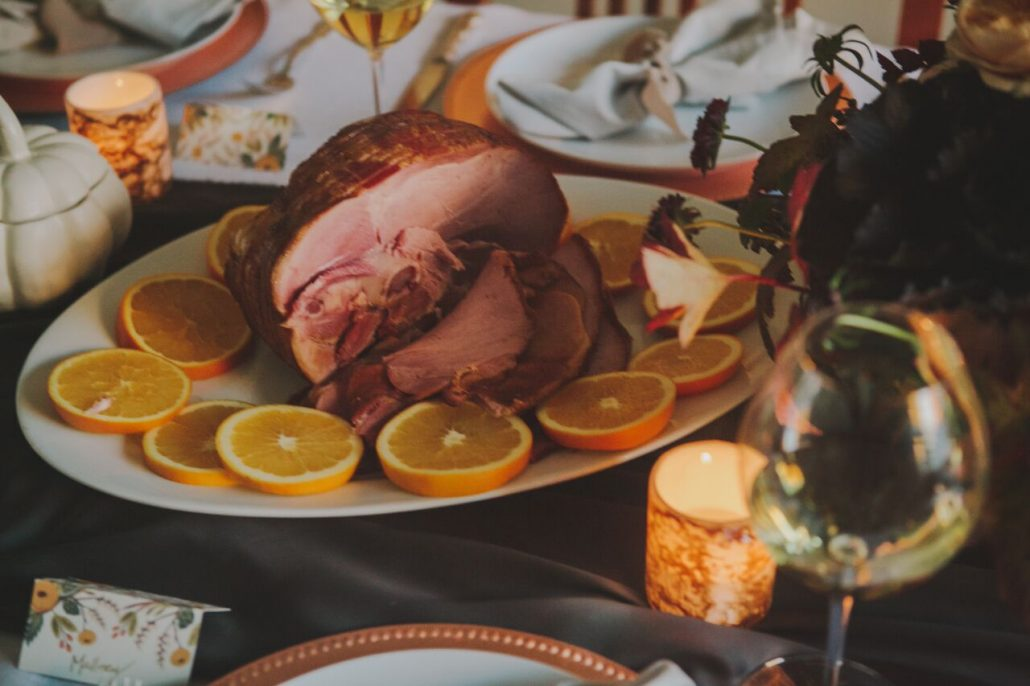 Choose ham instead of turkey for Friendsgiving so your guests don't have turkey overload!