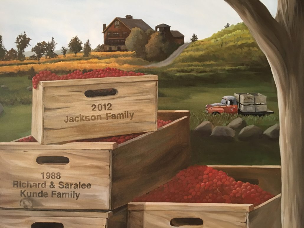 Saralee's Historical Estate Mural updates includes the Jackson Family crate and old truck with La Crema crates