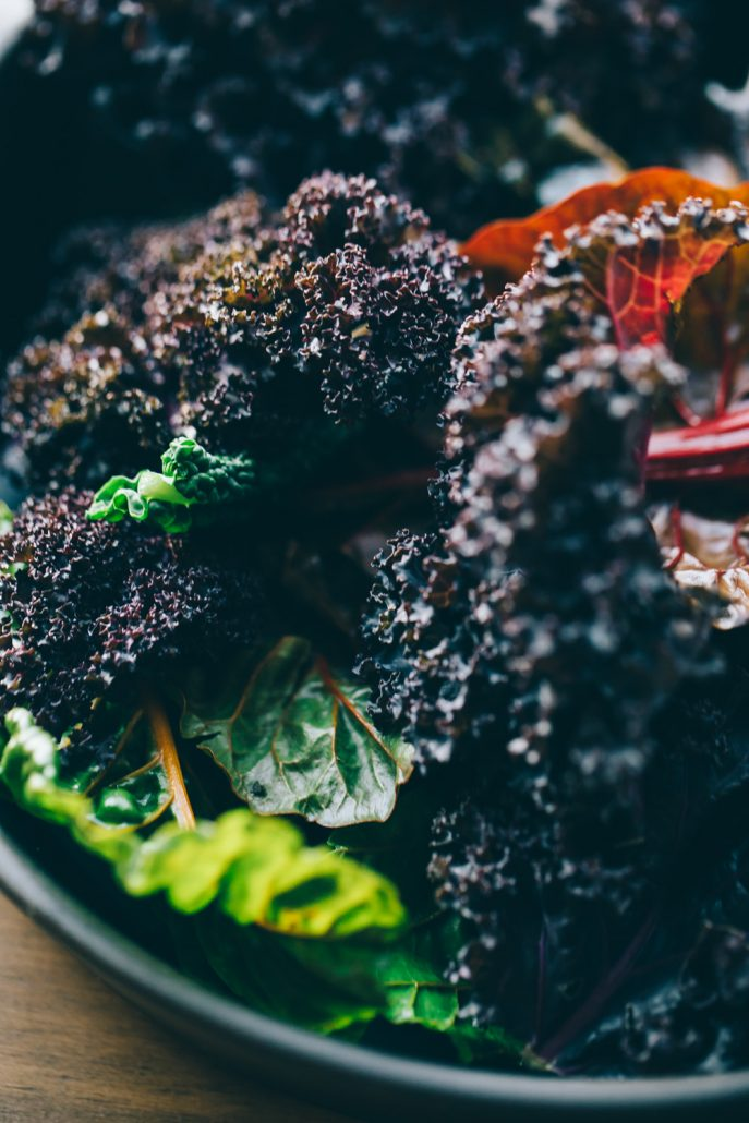 "Beautiful braising greens for Winter Skillet Nachos with Cauliflower ""Parm"""