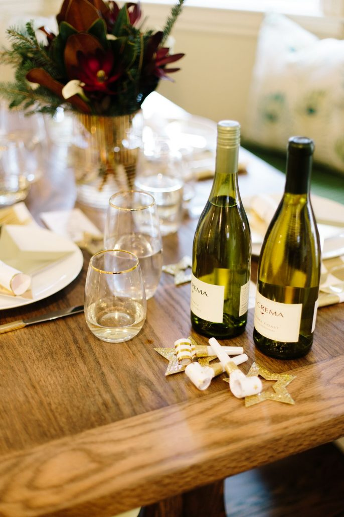 Wine and party supplies for a New Year's Day Brunch