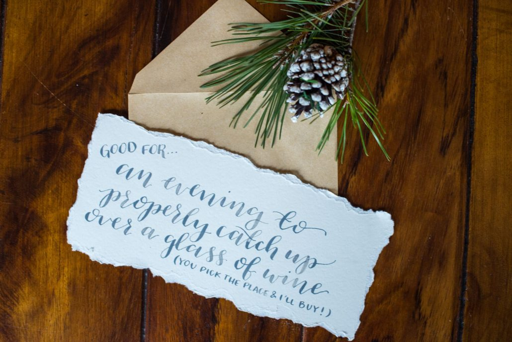 """DIY Coupons: """"Good for an evening to properly catch up over a glass of wine (you pick the place and I'll buy!)"""""""