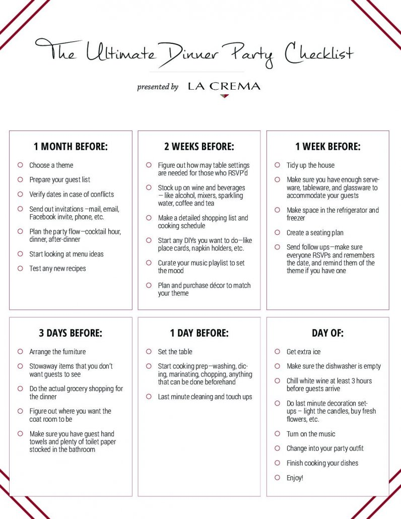 planning a dinner party your checklist la crema