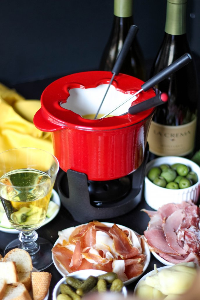 Havarti Cheese Fondue with accoutrements