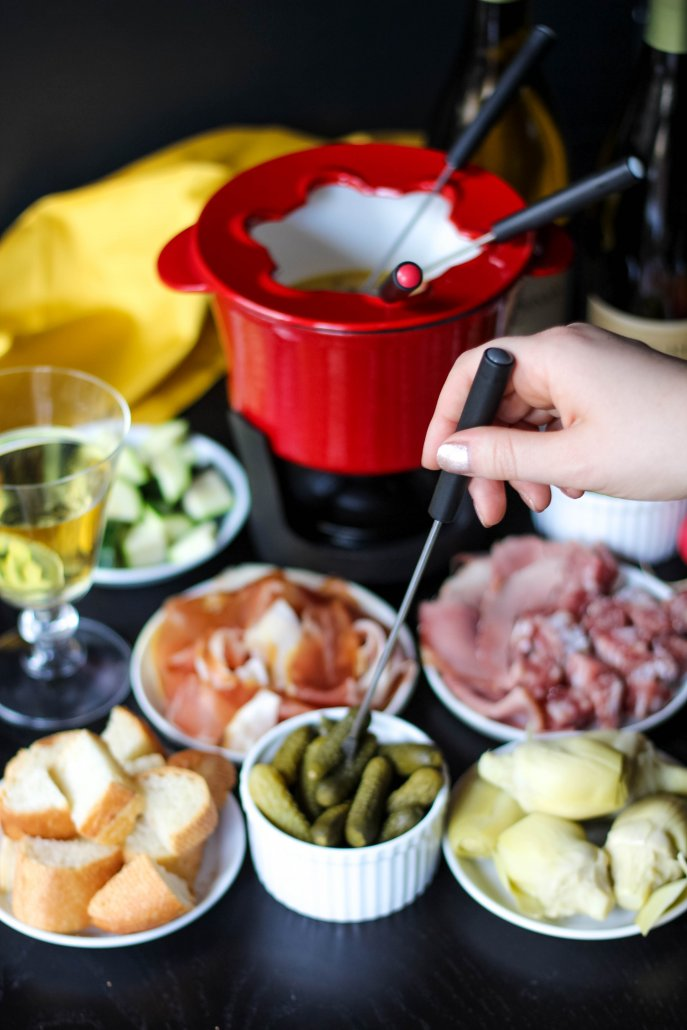 Fondue with accoutrements