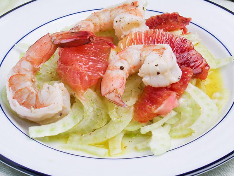 Winter recipes: White Wine Poached Shrimp, Citrus, and Fennel Salad