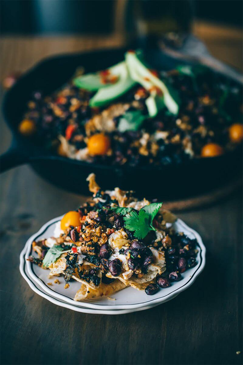 "Winter recipes: Winter Skillet Nachos with Cauliflower ""Parm"""