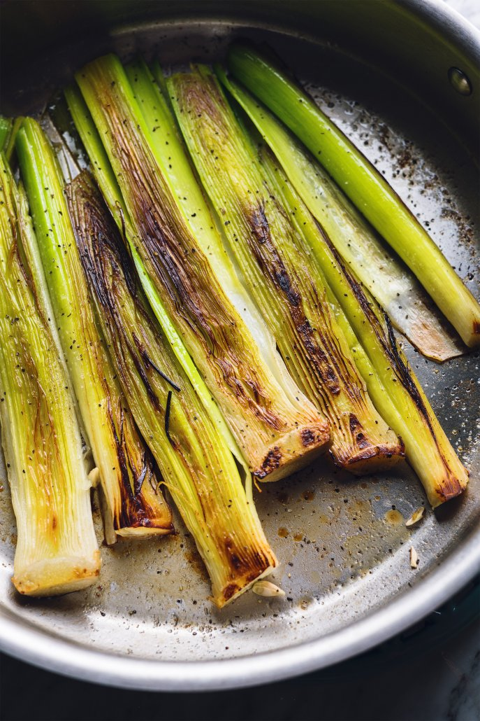 Pan Fried Polenta with Braised Leeks