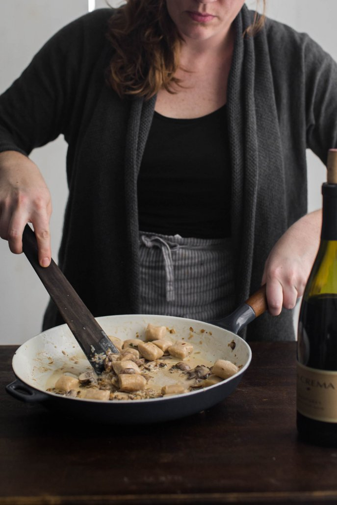 White Bean Gnocchi with Mushroom Thyme Cream Sauce