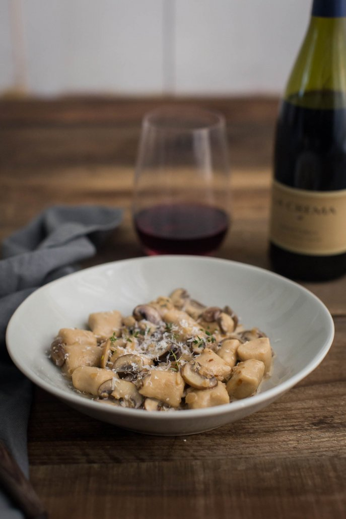White Bean Gnocchi with Thyme Mushroom Cream Sauce