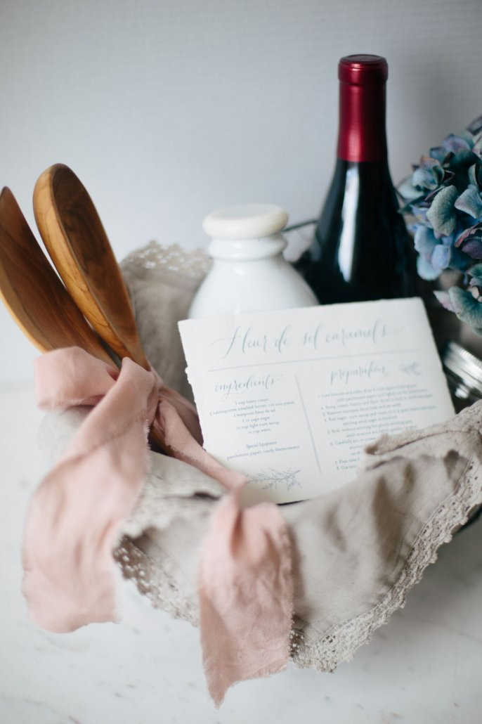 DIY Recipe Kit for Valentine's Day for Fleur de Sel Caramels with a bottle of La Crema Sonoma Coast Pinot Noir