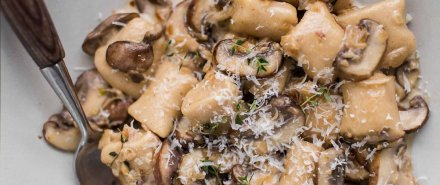 White Bean Gnocchi with Mushroom Cream Sauce