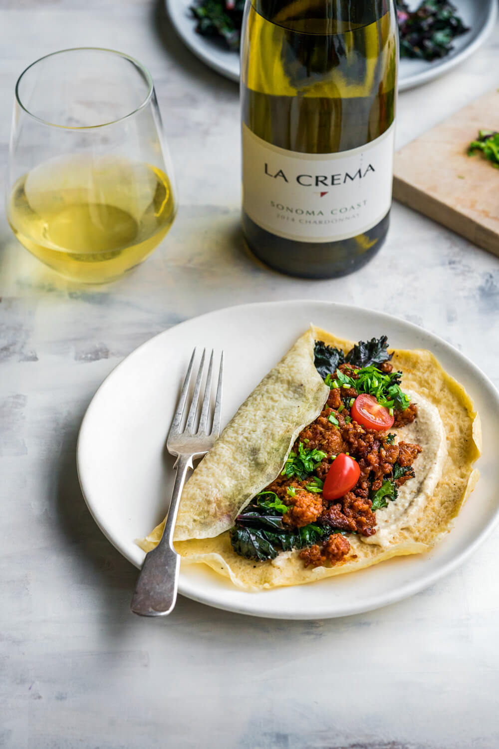Chorizo Shawarma Crepes with Lemon Tahini paired with La Crema Sonoma Coast Chardonnay