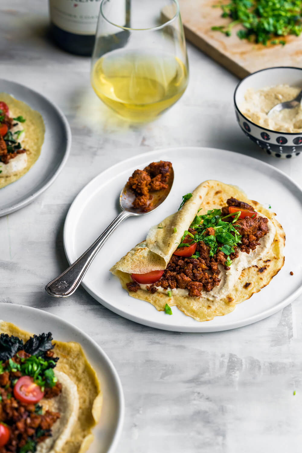 Chorizo Shawarma Crepes with Lemon Tahini
