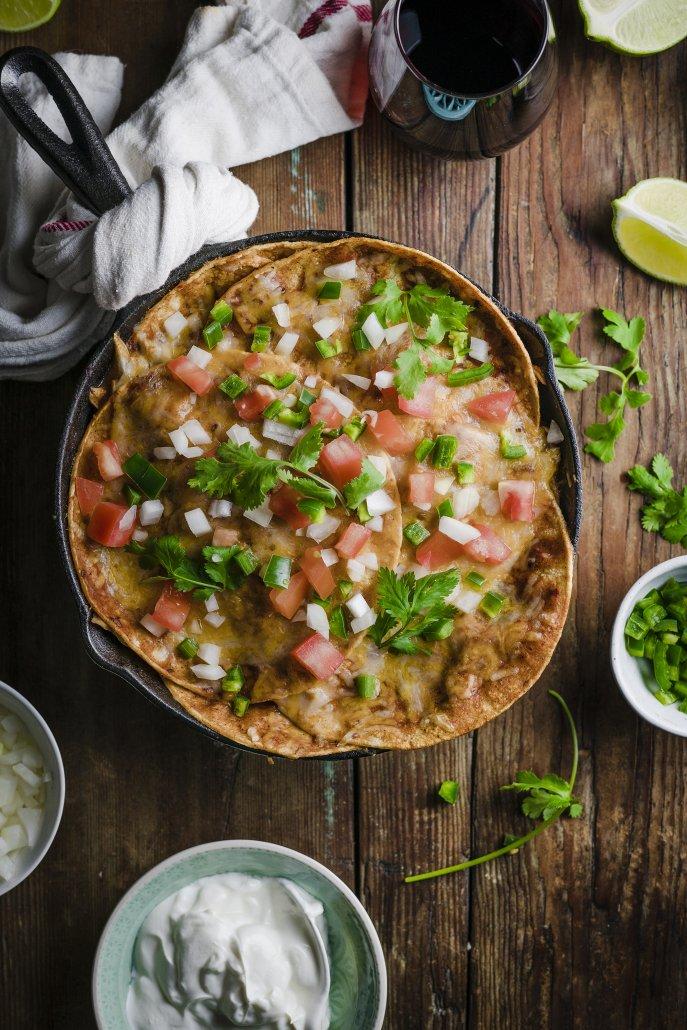 Skillet Baked Chipotle Enchiladas
