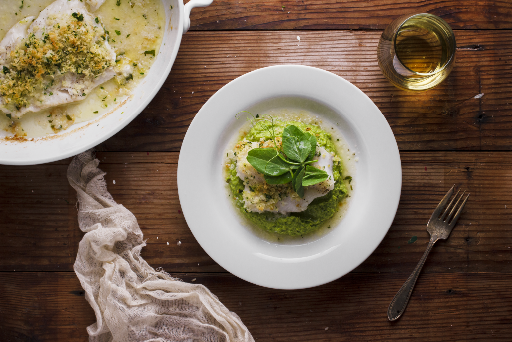 Herbed-Crusted Cod with Pea Purée