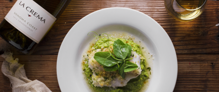 Herbed-Crusted Cod with a Pea Purée