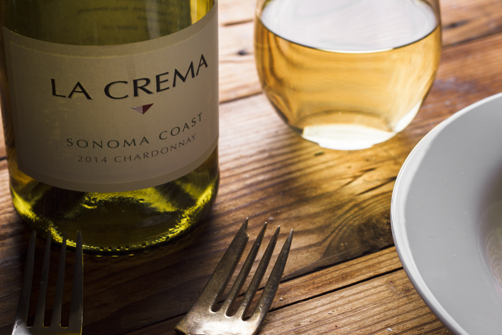 La Crema Sonoma Coast Chardonnay to pair with Herbed-Crusted Cod with Pea Purée