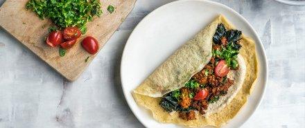 Chorizo Shawarma Crepes with Lemon Tahini hero image