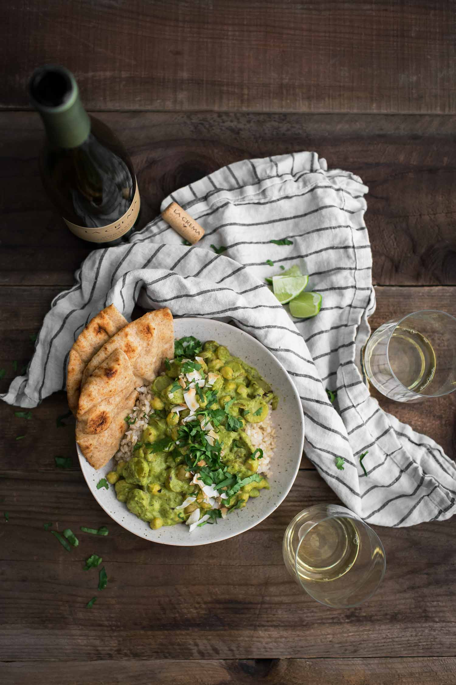 Green Chickpea Curry with Potatoes Paired with La Crema Monterey Chardonnay