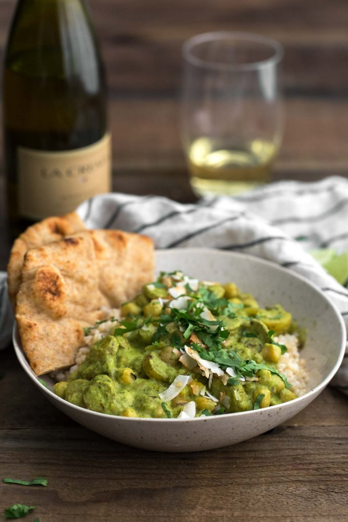 Green Chickpea Curry with Potatoes and Fresh Herbs