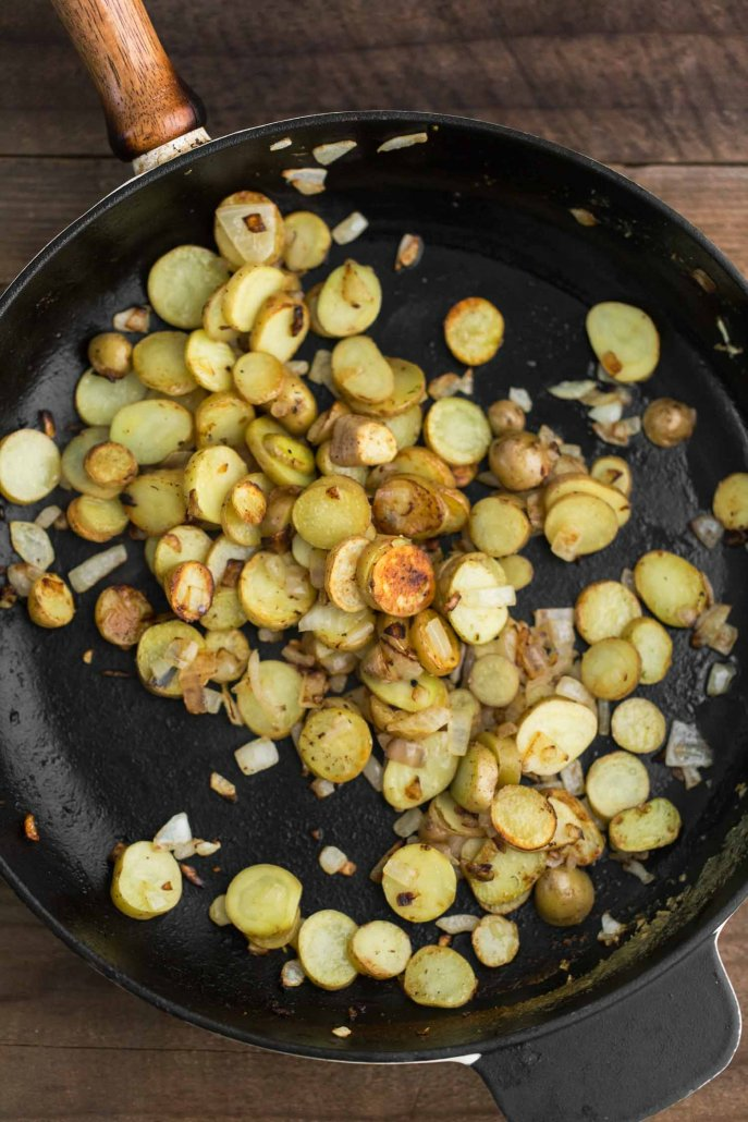 Pan-fried Potatoes for our Green Chickpea Curry