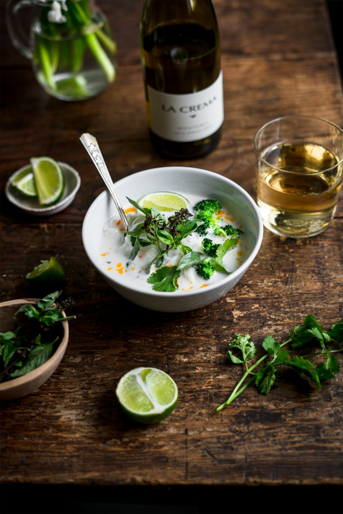 Thai Coconut Vegetable and Noodle Soup pair with La Crema Monterey Pinot Gris