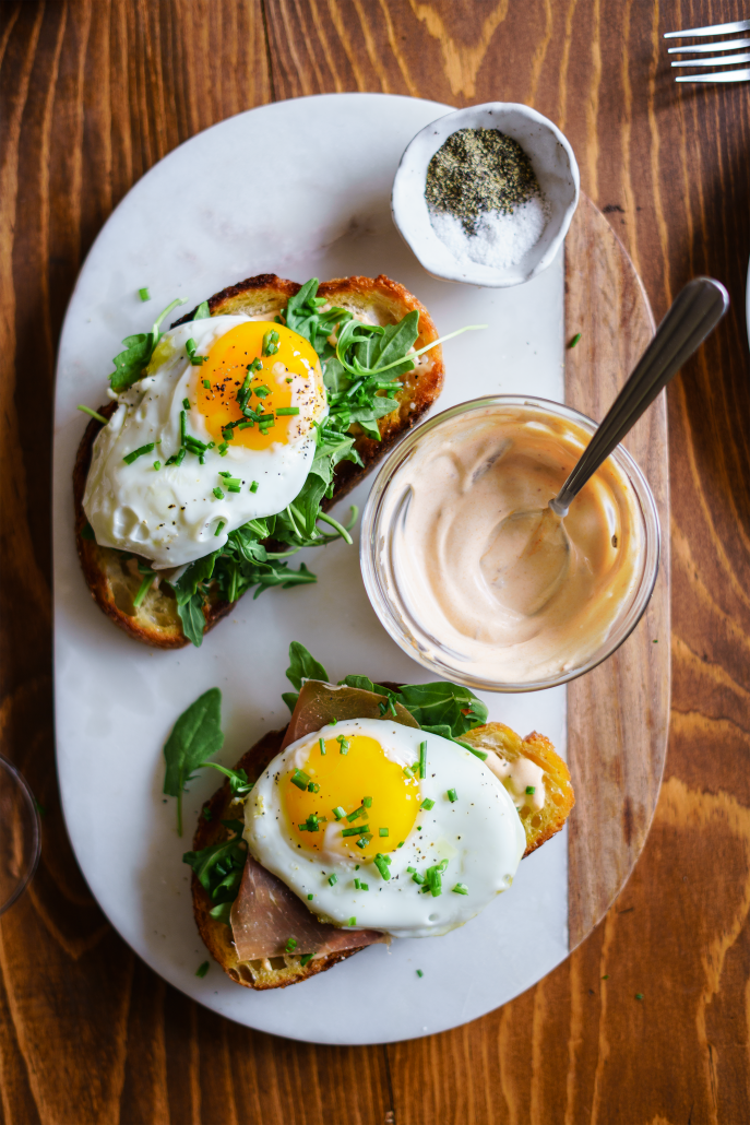 Spring Brunch: La Crema Monterey Rosé paired with a Sourdough Tartine with Spicy Mayo, Fried Egg, Arugula and Prosciutto