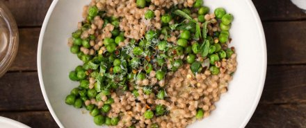 Pea Couscous Risotto with Mascarpone and Basil