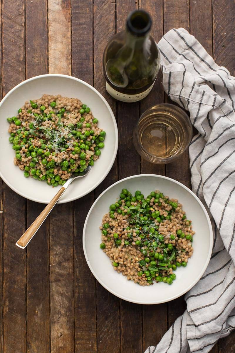 Pea Couscous Risotto with Mascarpone