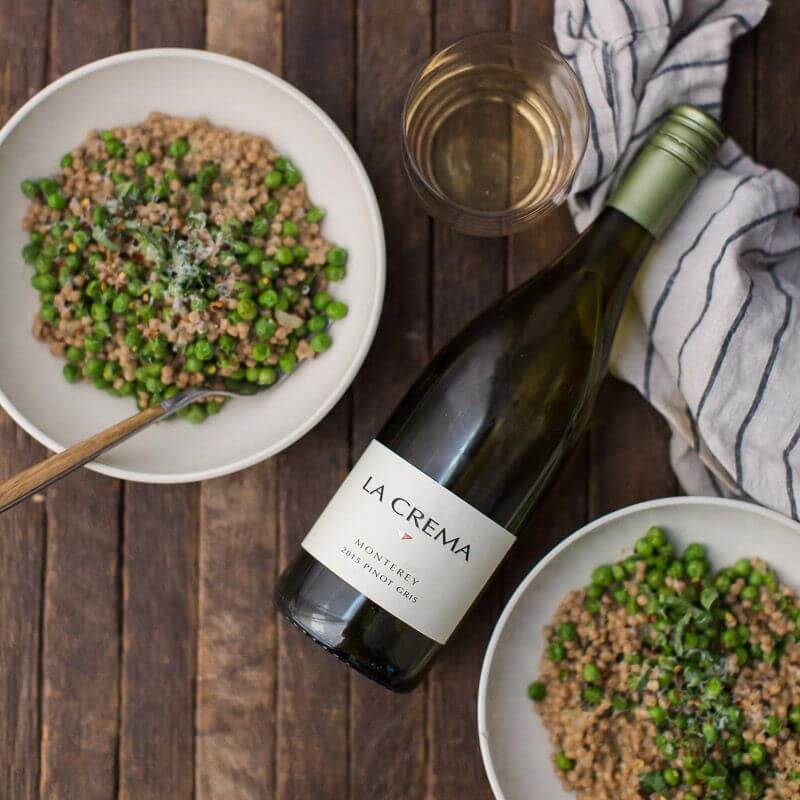 La Crema Monterey Pinot Gris paired with Pea Couscous Risotto with Mascarpone and Basil