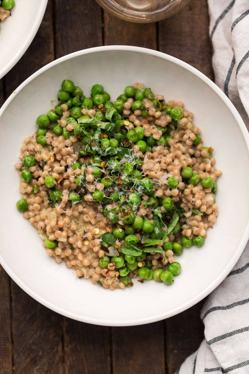 Pea Whole Wheat Couscous Risotto with Mascarpone and Basil