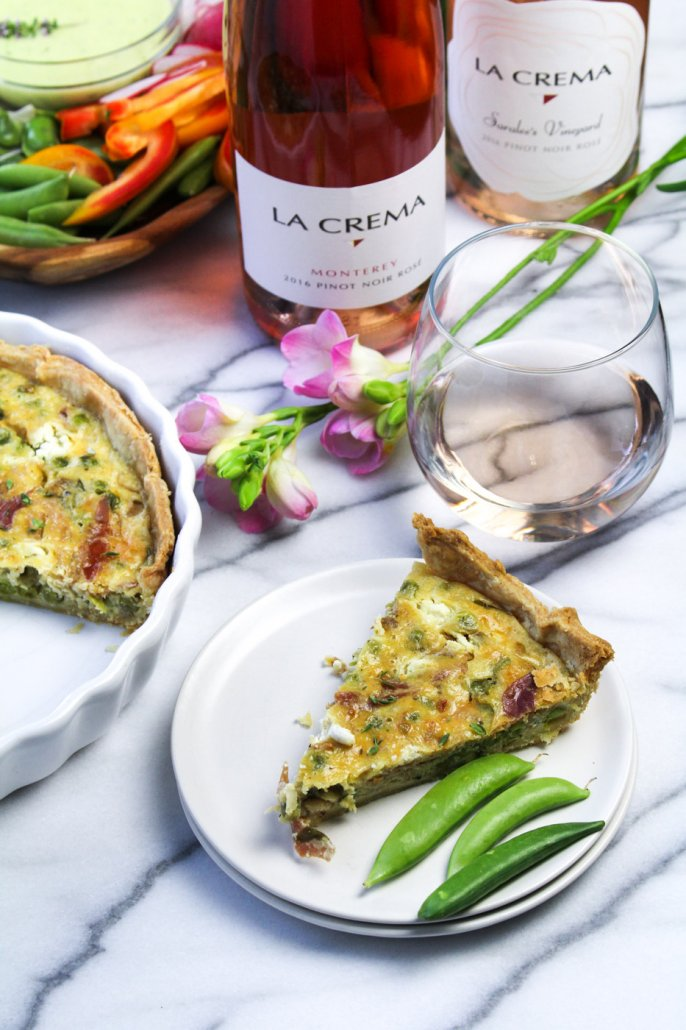 Goat Cheese Tart with Peas and Prosciutto paired with La Crema's Rosés