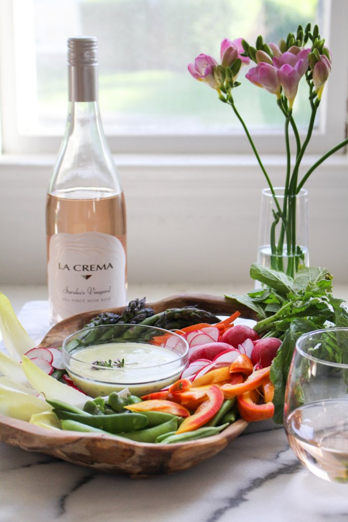 Spring Crudites with Herbed Aioli paired with La Crema's Saralee's Vineyard Pinot Noir Rosé