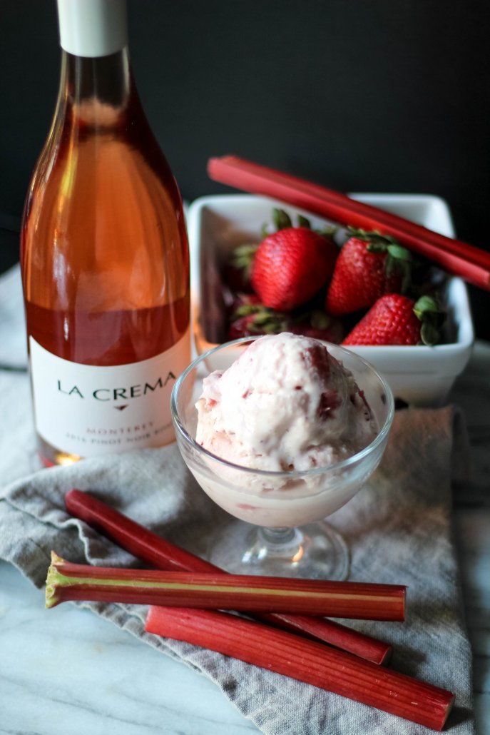 Strawberry Rhubarb Ice Cream and La Crema's Monterey Pinot Noir Rosé