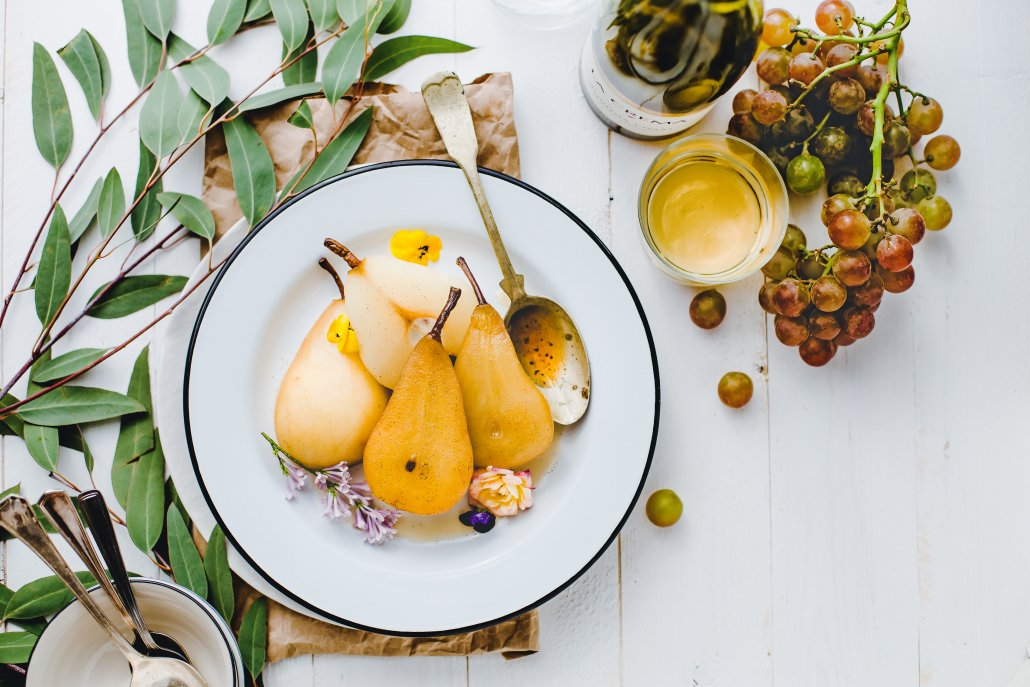 Spring Recipes Roundup: Jasmine White Wine Poached Pears