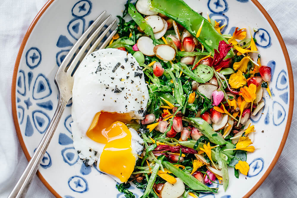 Spring Recipes Roundup: Spring Greens, Edible Flowers and Poached Eggs