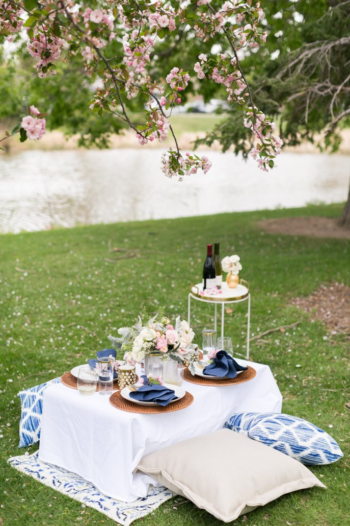 A beautiful, cozy and glamorous spring picnic in the park