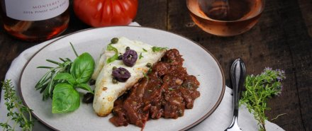 Cooking French with Rosé: Baked Halibut Provençal hero image