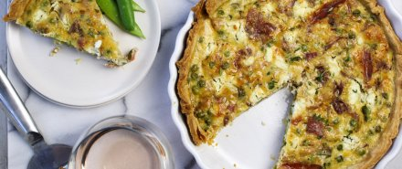 Cooking French with Rosé: Goat Cheese Tart with Peas and Prosciutto