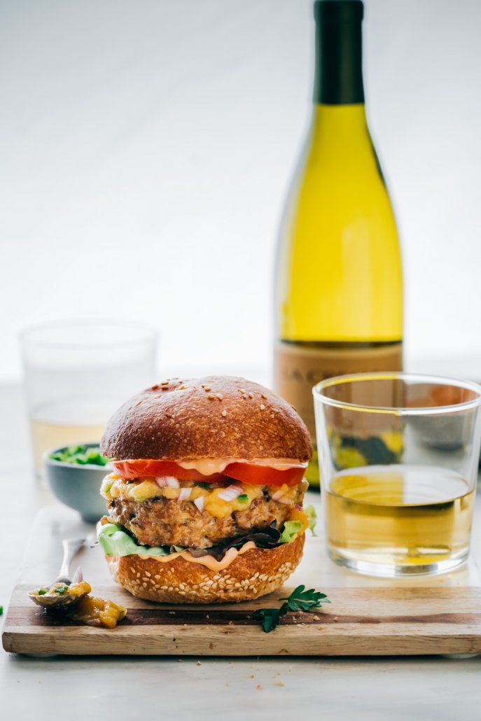 Al Pastor Burger with Spicy Pineapple Sauce paired with Monterey Chardonnay