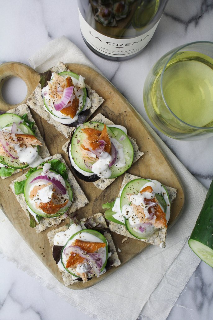 Smoked Salmon Rye Crackers with Caper Cream