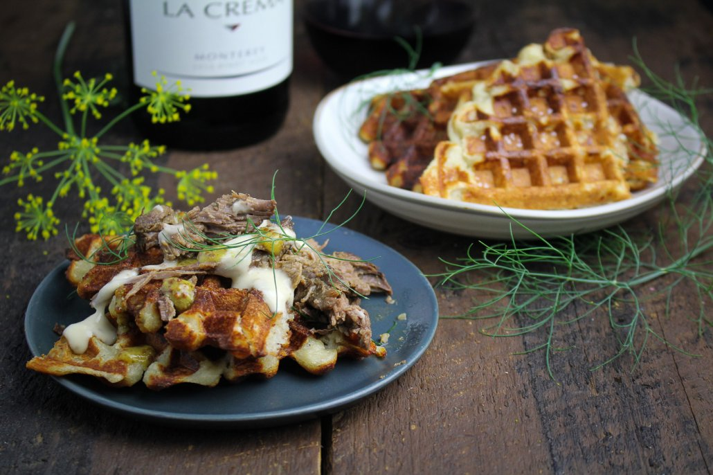 Mustard and Thyme Pulled Leg of Lamb with Mashed Potato Waffles