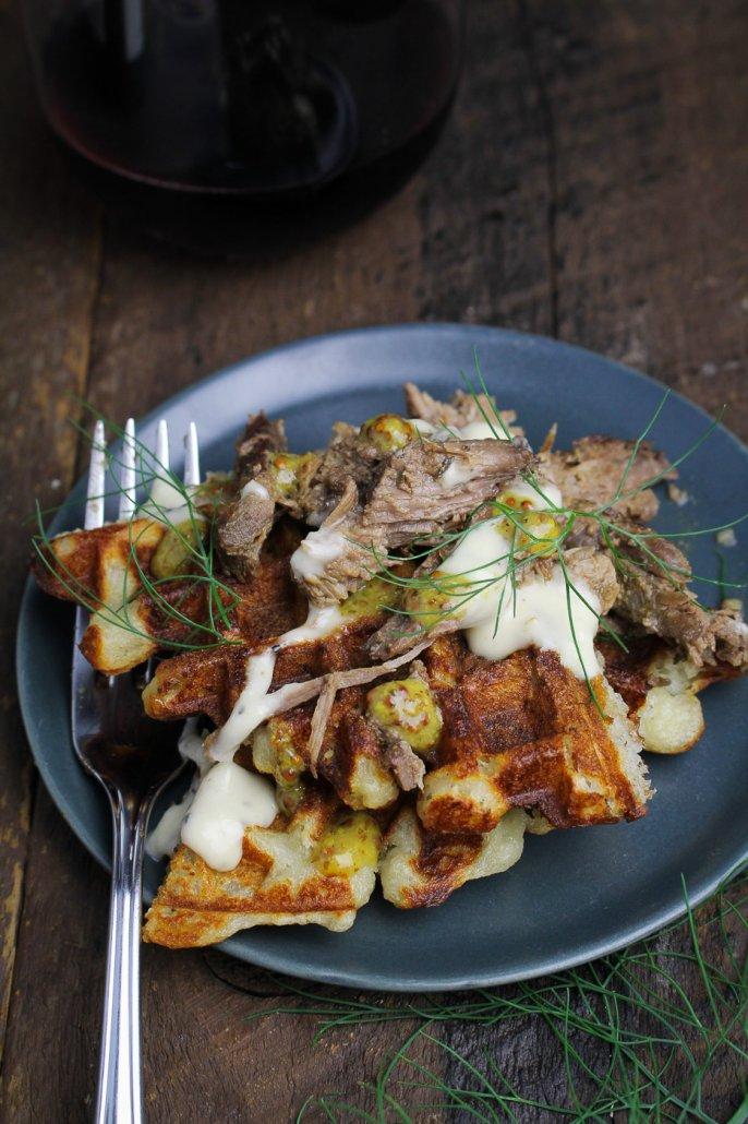 Mashed Potato Waffles with Horseradish Sauce